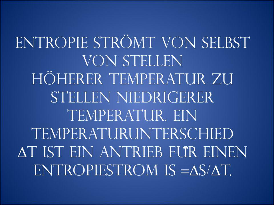 Entropie strömt von selbst von Stellen höherer Temperatur zu Stellen niedrigerer Temperatur.