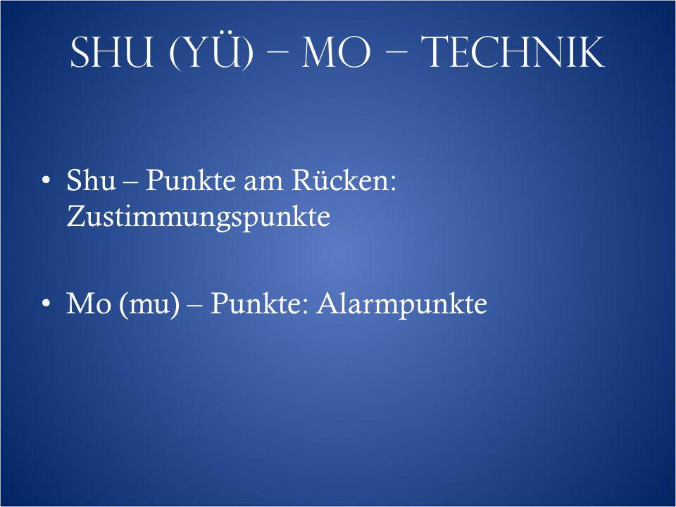 SHU (YÜ) – MO – TECHNIK Shu – Punkte am Rücken: Zustimmungspunkte Mo (mu) – Punkte: Alarmpunkte