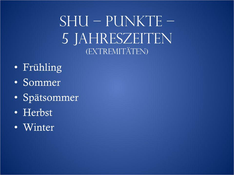 SHU – PUNKTE – 5 JAHRESZEITEN (EXTREMITÄTEN)  Frühling Sommer Spätsommer Herbst Winter