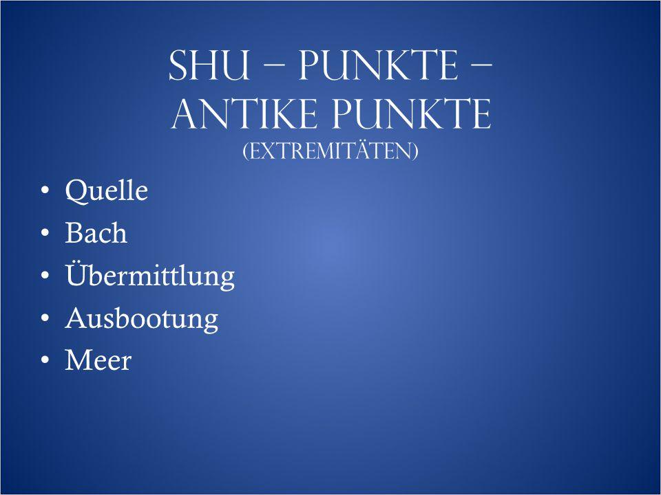 SHU – PUNKTE – ANTIKE PUNKTE (EXTREMITÄTEN)  Quelle Bach Übermittlung Ausbootung Meer