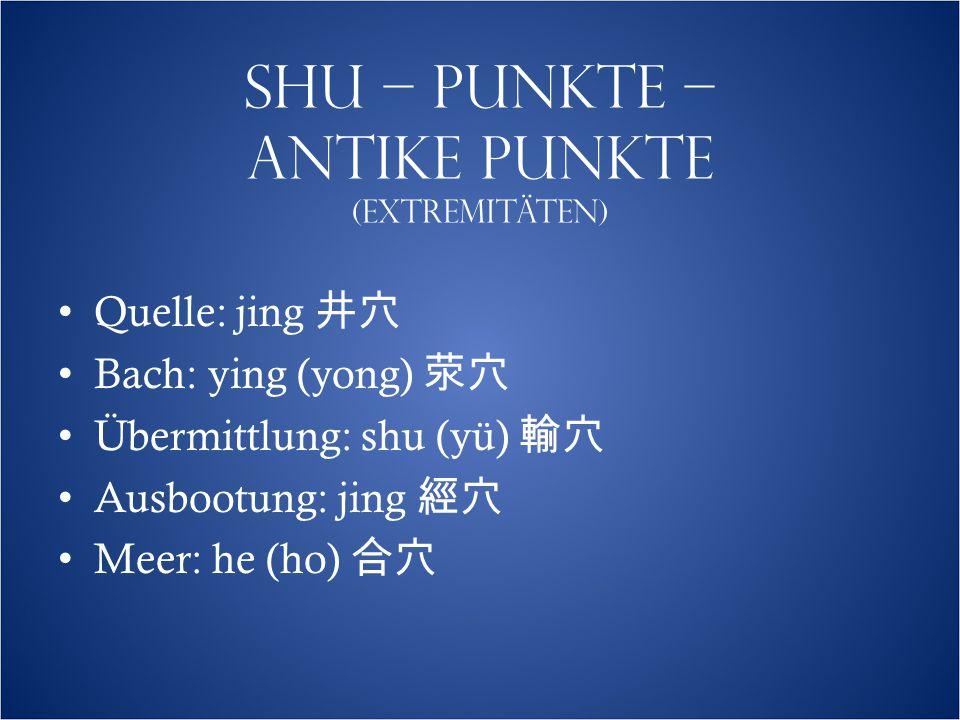 SHU – PUNKTE – ANTIKE PUNKTE (EXTREMITÄTEN)  Quelle: jing 井穴 Bach: ying (yong) 荥穴 Übermittlung: shu (yü) 輸穴 Ausbootung: jing 經穴 Meer: he (ho) 合穴
