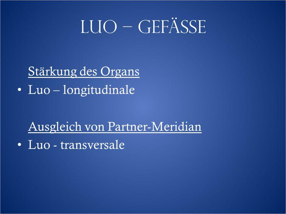 LUO – GEFÄSSE Stärkung des Organs Luo – longitudinale Ausgleich von Partner-Meridian Luo - transversale