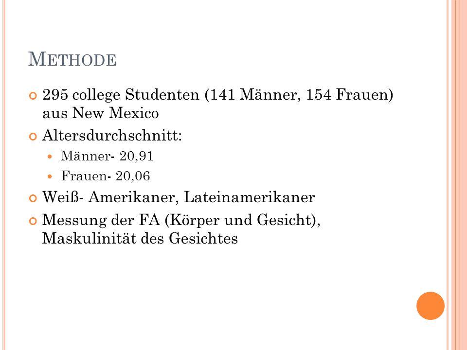 M ETHODE 295 college Studenten (141 Männer, 154 Frauen) aus New Mexico Altersdurchschnitt: Männer- 20,91 Frauen- 20,06 Weiß- Amerikaner, Lateinamerika