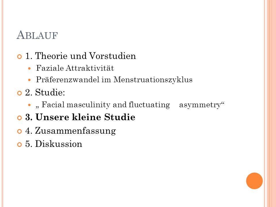 """A BLAUF 1. Theorie und Vorstudien Faziale Attraktivität Präferenzwandel im Menstruationszyklus 2. Studie: """" Facial masculinity and fluctuating asymmet"""