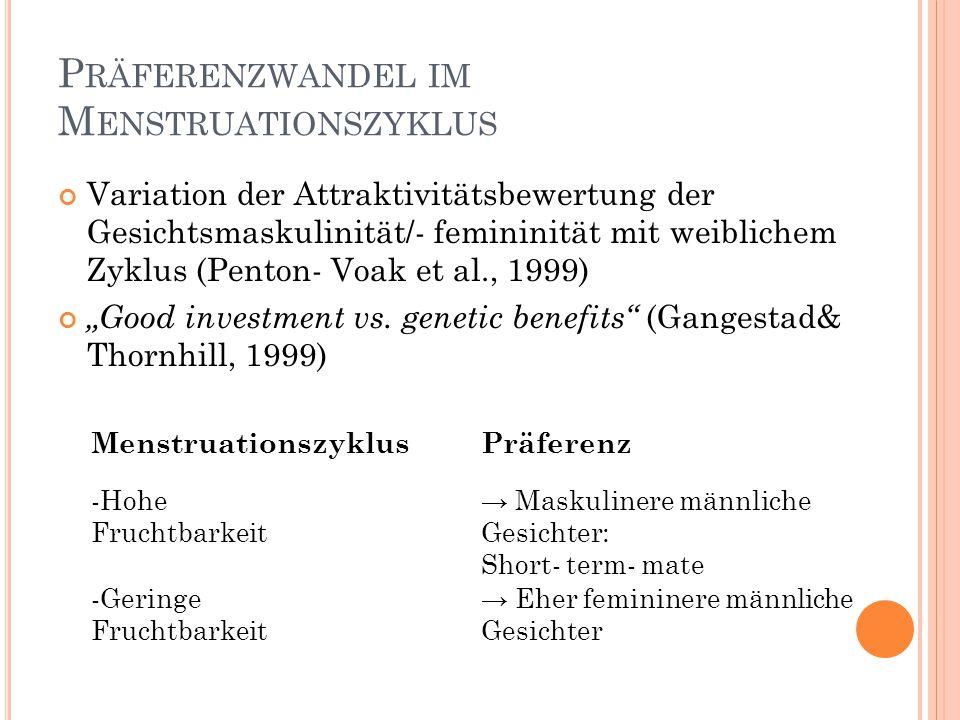 P RÄFERENZWANDEL IM M ENSTRUATIONSZYKLUS Variation der Attraktivitätsbewertung der Gesichtsmaskulinität/- femininität mit weiblichem Zyklus (Penton- V