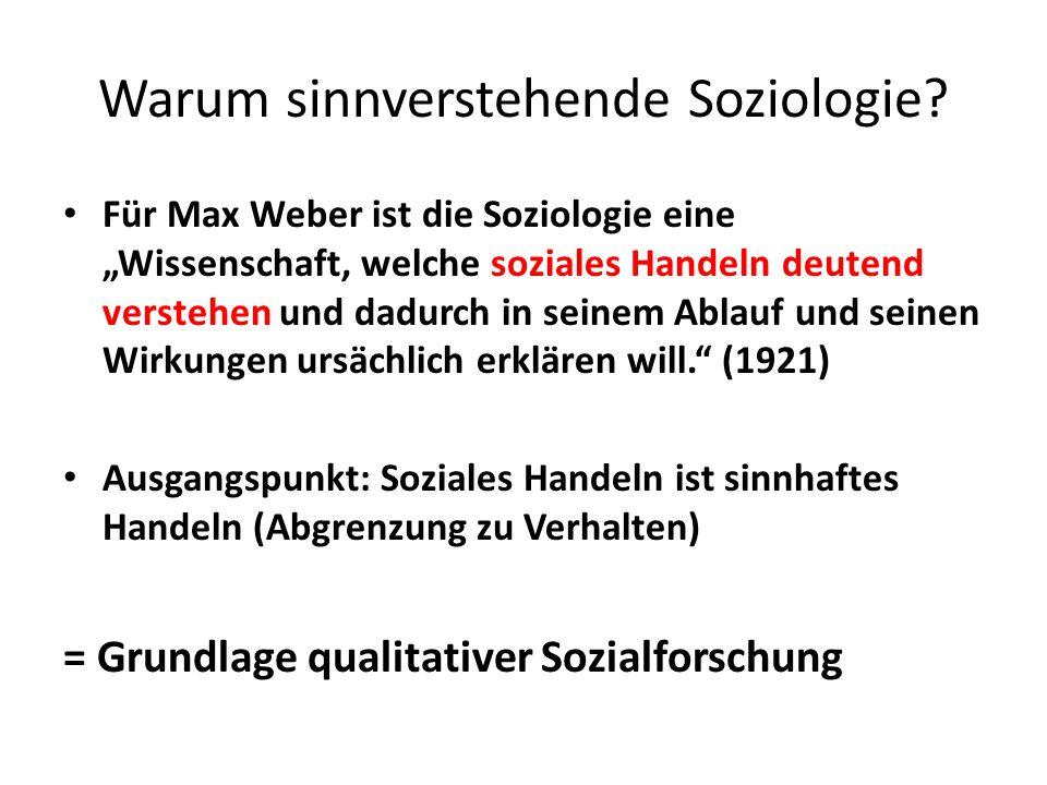 """Warum sinnverstehende Soziologie? Für Max Weber ist die Soziologie eine """"Wissenschaft, welche soziales Handeln deutend verstehen und dadurch in seinem"""