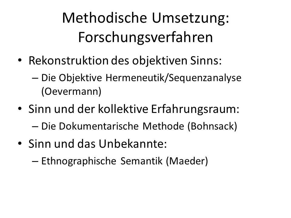 Methodische Umsetzung: Forschungsverfahren Rekonstruktion des objektiven Sinns: – Die Objektive Hermeneutik/Sequenzanalyse (Oevermann) Sinn und der kollektive Erfahrungsraum: – Die Dokumentarische Methode (Bohnsack) Sinn und das Unbekannte: – Ethnographische Semantik (Maeder)