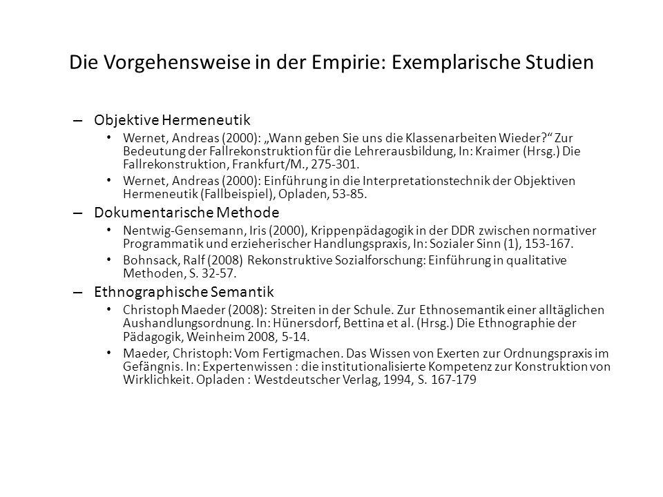 """Die Vorgehensweise in der Empirie: Exemplarische Studien – Objektive Hermeneutik Wernet, Andreas (2000): """"Wann geben Sie uns die Klassenarbeiten Wiede"""