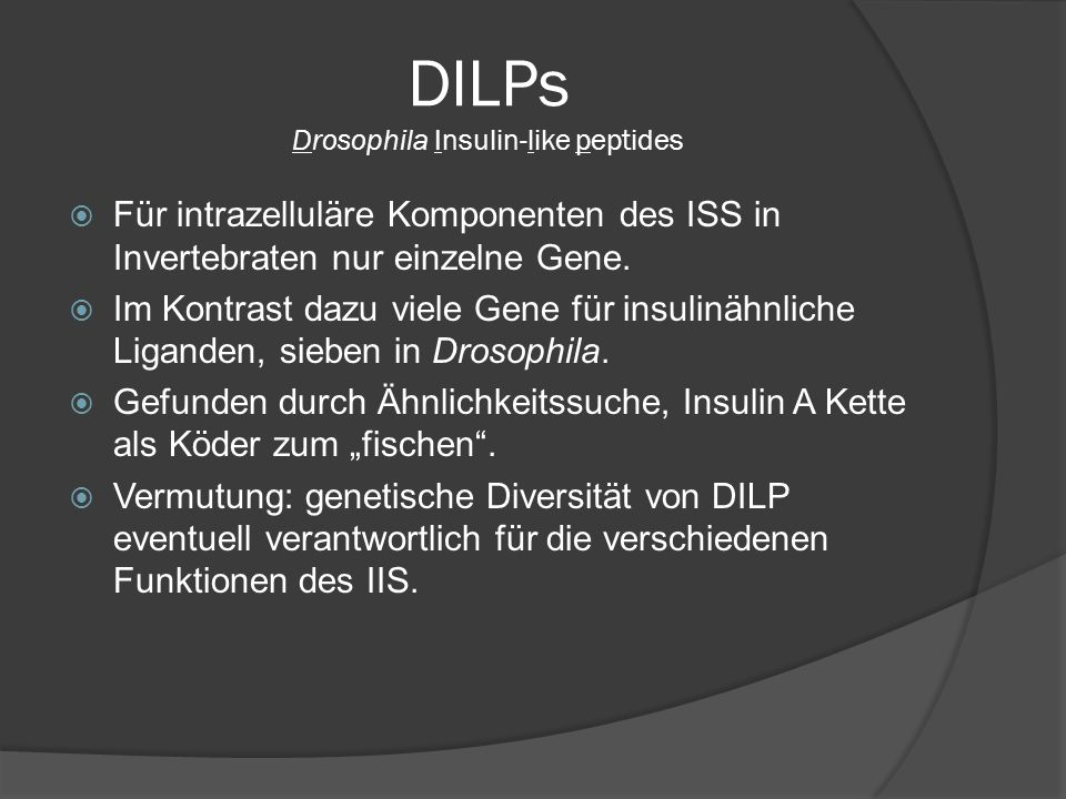 DILPs Drosophila Insulin-like peptides  Für intrazelluläre Komponenten des ISS in Invertebraten nur einzelne Gene.