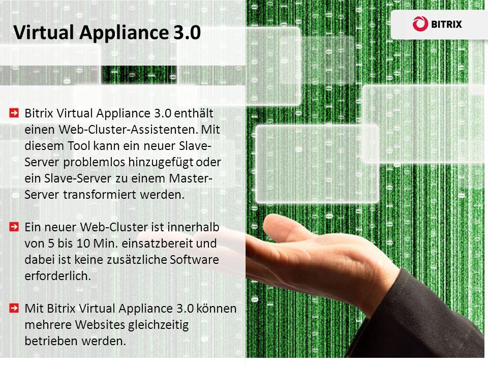 Bitrix Virtual Appliance 3.0 enthält einen Web-Cluster-Assistenten.