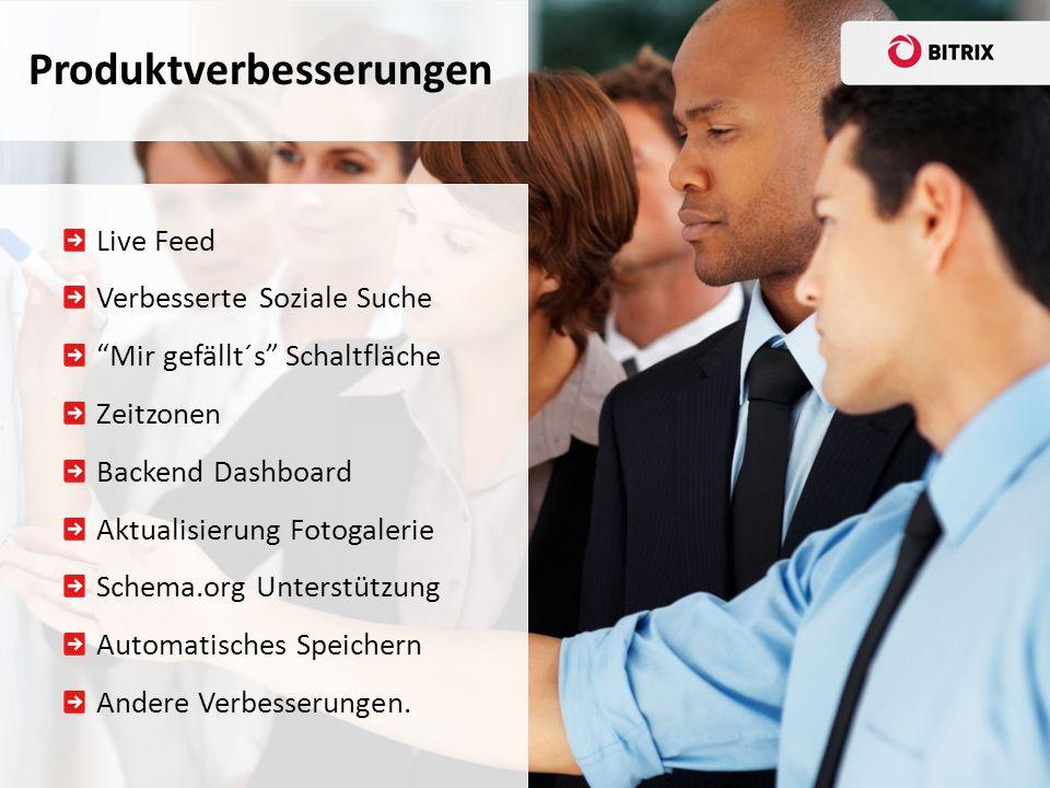 Live Feed Verbesserte Soziale Suche Mir gefällt´s Schaltfläche Zeitzonen Backend Dashboard Aktualisierung Fotogalerie Schema.org Unterstützung Automatisches Speichern Andere Verbesserungen.