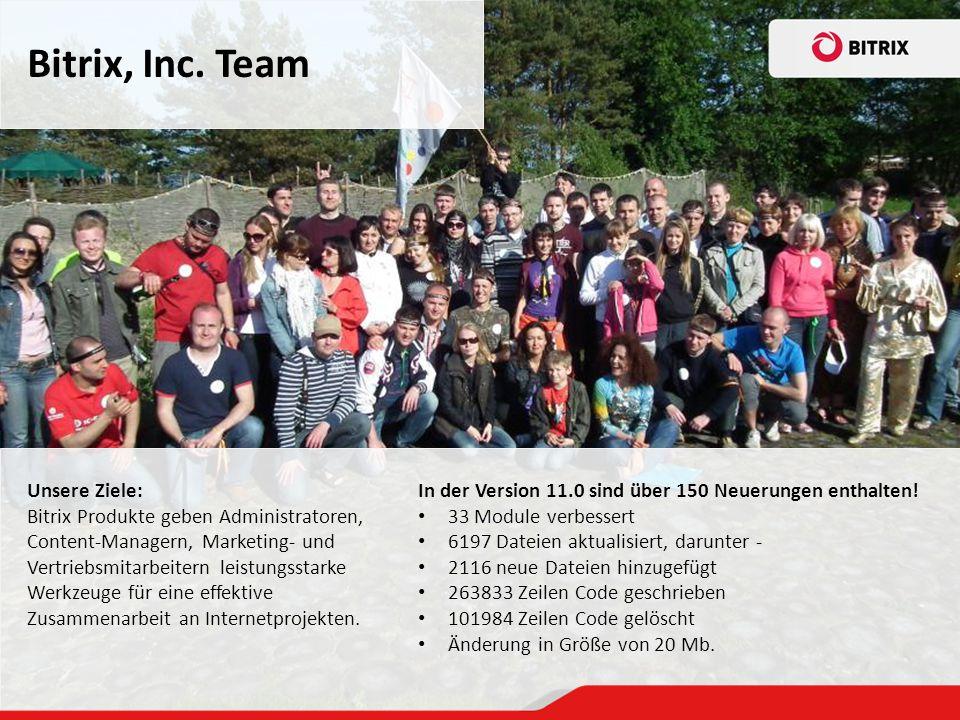 Bitrix, Inc.Team In der Version 11.0 sind über 150 Neuerungen enthalten.