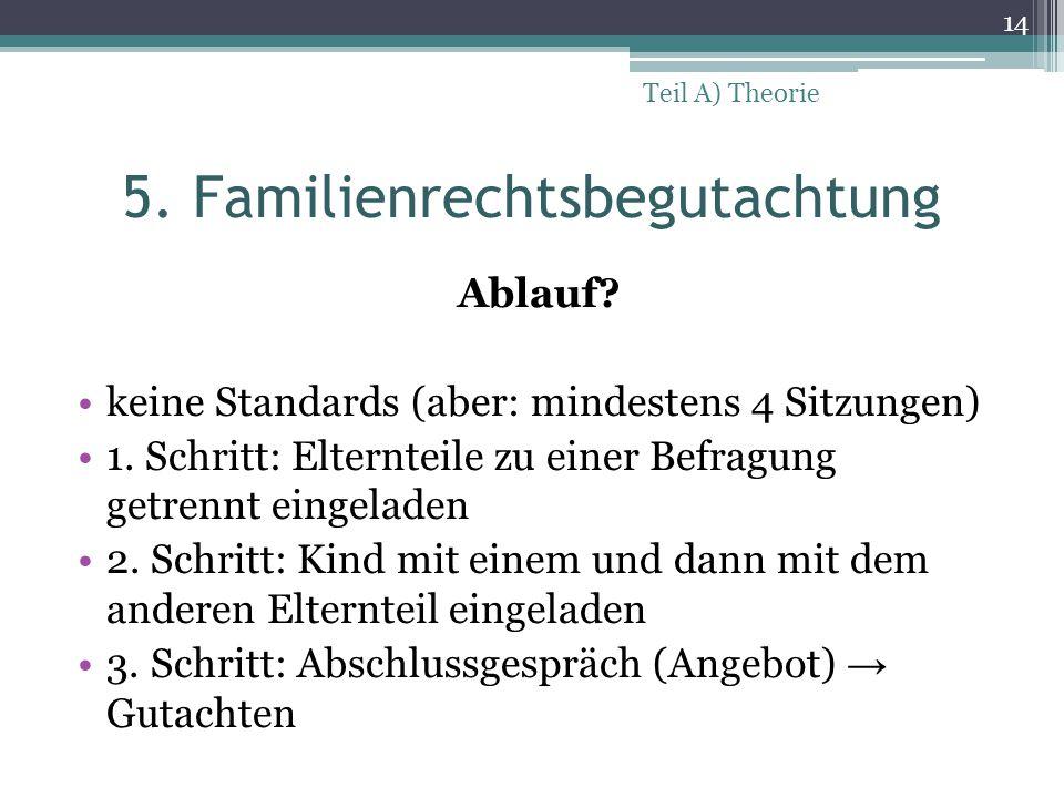5. Familienrechtsbegutachtung Ablauf? keine Standards (aber: mindestens 4 Sitzungen) 1. Schritt: Elternteile zu einer Befragung getrennt eingeladen 2.