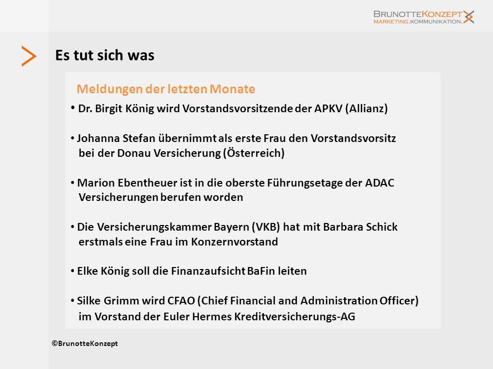Es tut sich was ©BrunotteKonzept Meldungen der letzten Monate Dr. Birgit König wird Vorstandsvorsitzende der APKV (Allianz) Johanna Stefan übernimmt a