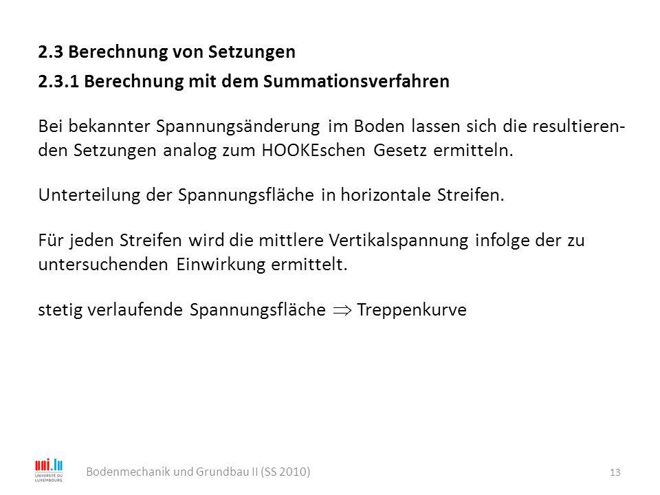 2.3 Berechnung von Setzungen 2.3.1 Berechnung mit dem Summationsverfahren Bei bekannter Spannungsänderung im Boden lassen sich die resultieren- den Se