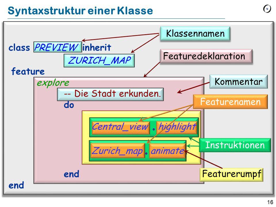 16 Featuredeklaration Klassennamen Kommentar Featurerumpf Featurenamen Syntaxstruktur einer Klasse class PREVIEW inherit ZURICH_MAP feature explore -- Die Stadt erkunden.