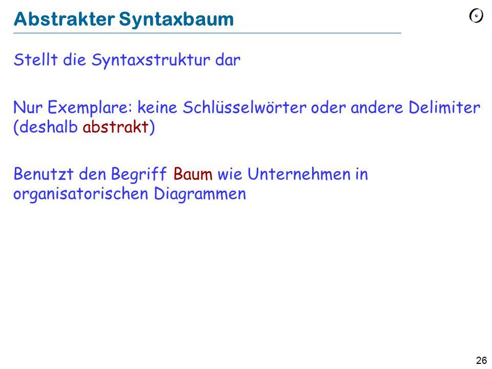 26 Abstrakter Syntaxbaum Stellt die Syntaxstruktur dar Nur Exemplare: keine Schlüsselwörter oder andere Delimiter (deshalb abstrakt) Benutzt den Begri