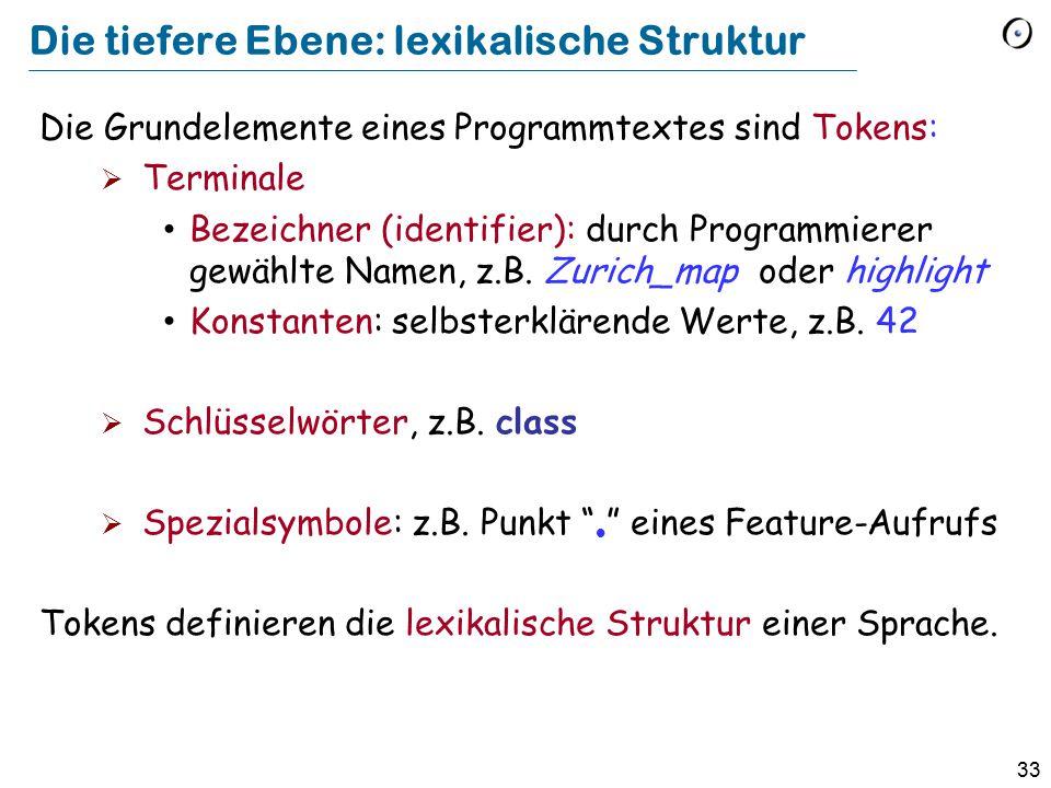 33 Die tiefere Ebene: lexikalische Struktur Die Grundelemente eines Programmtextes sind Tokens:  Terminale Bezeichner (identifier): durch Programmier