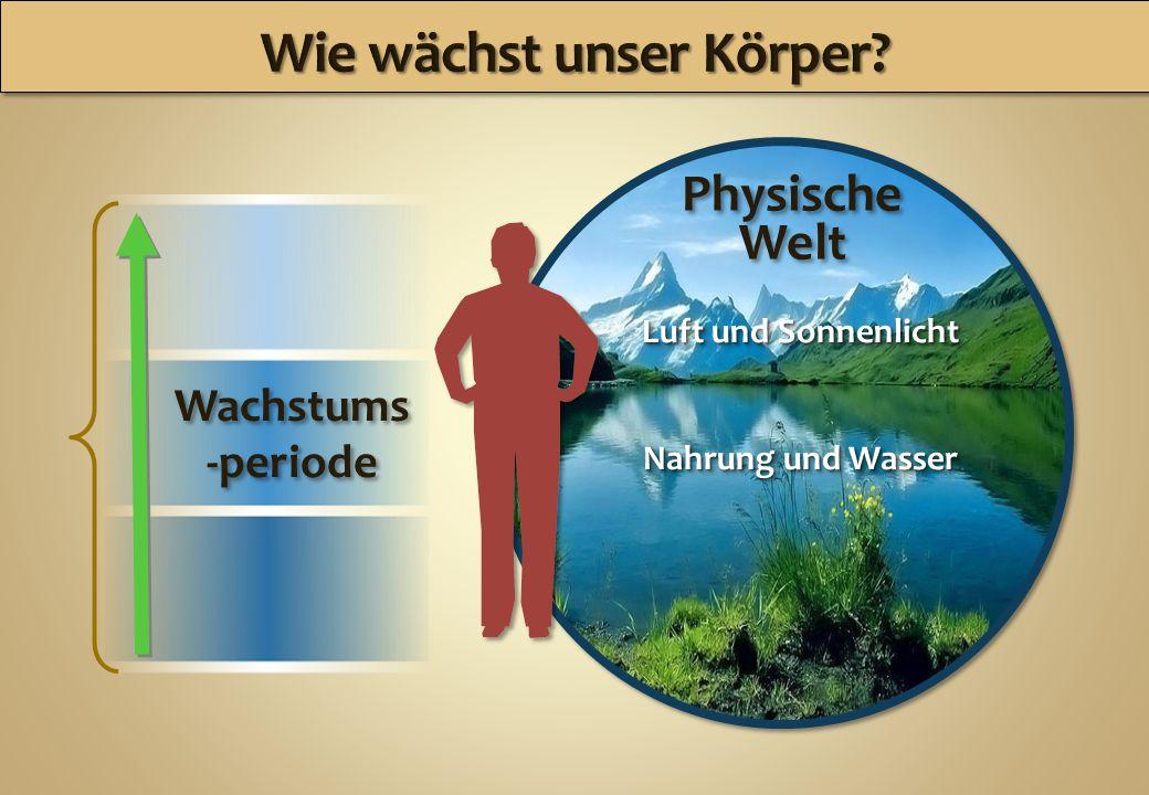 Physische Welt Physische Welt Luft und Sonnenlicht Nahrung und Wasser Luft und Sonnenlicht Nahrung und Wasser Wachstums -periode