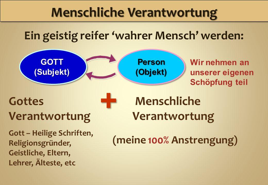 Ein geistig reifer 'wahrer Mensch' werden: GOTT(Subjekt)Person(Objekt) Gottes Verantwortung Gott – Heilige Schriften, Religionsgründer, Geistliche, El