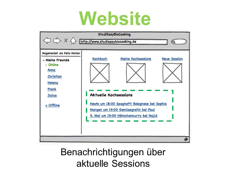  Intuitive Bedienung  Funktionalität wie Website  Zugriff auf Kochbuch  Benachrichtungen App