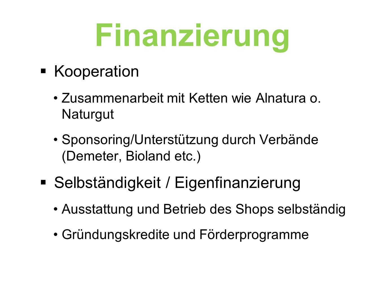 Finanzierung  Kooperation Zusammenarbeit mit Ketten wie Alnatura o.