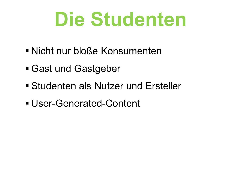  Nicht nur bloße Konsumenten  Gast und Gastgeber  Studenten als Nutzer und Ersteller  User-Generated-Content Die Studenten