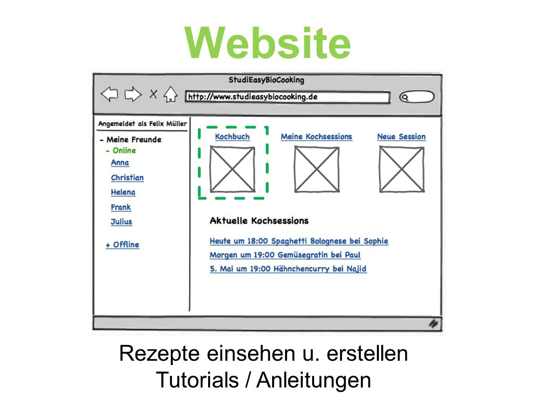 Website Rezepte einsehen u. erstellen Tutorials / Anleitungen