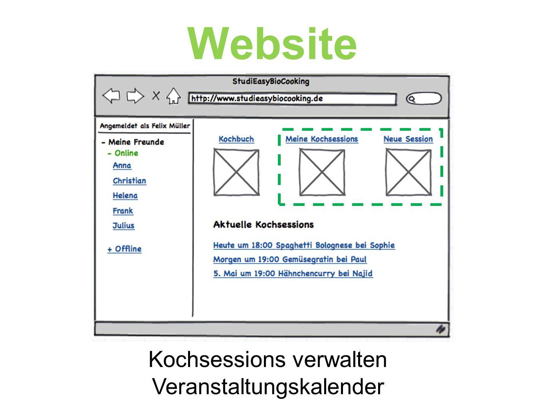 Website Kochsessions verwalten Veranstaltungskalender