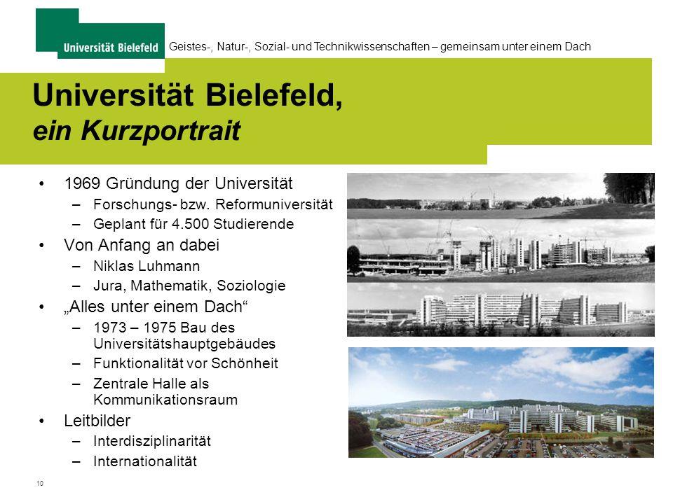10 Geistes-, Natur-, Sozial- und Technikwissenschaften – gemeinsam unter einem Dach Universität Bielefeld, ein Kurzportrait 1969 Gründung der Universität –Forschungs- bzw.