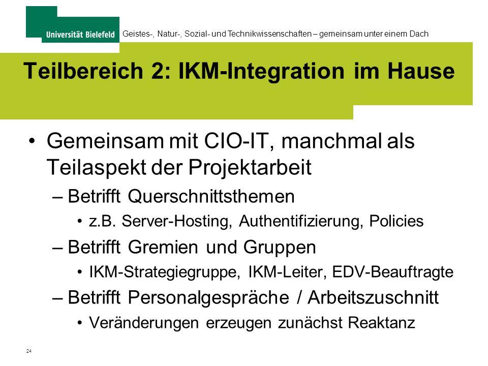 24 Geistes-, Natur-, Sozial- und Technikwissenschaften – gemeinsam unter einem Dach Teilbereich 2: IKM-Integration im Hause Gemeinsam mit CIO-IT, manchmal als Teilaspekt der Projektarbeit –Betrifft Querschnittsthemen z.B.