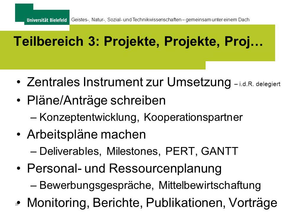25 Geistes-, Natur-, Sozial- und Technikwissenschaften – gemeinsam unter einem Dach Teilbereich 3: Projekte, Projekte, Proj… Zentrales Instrument zur Umsetzung – i.d.R.