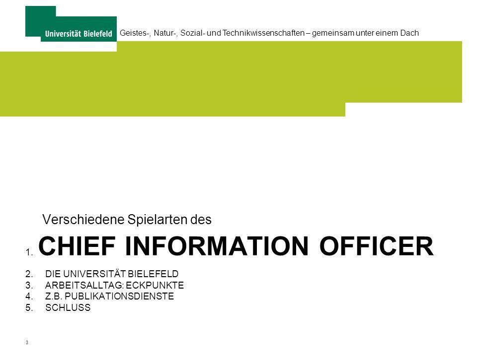 4 Geistes-, Natur-, Sozial- und Technikwissenschaften – gemeinsam unter einem Dach CIO = .