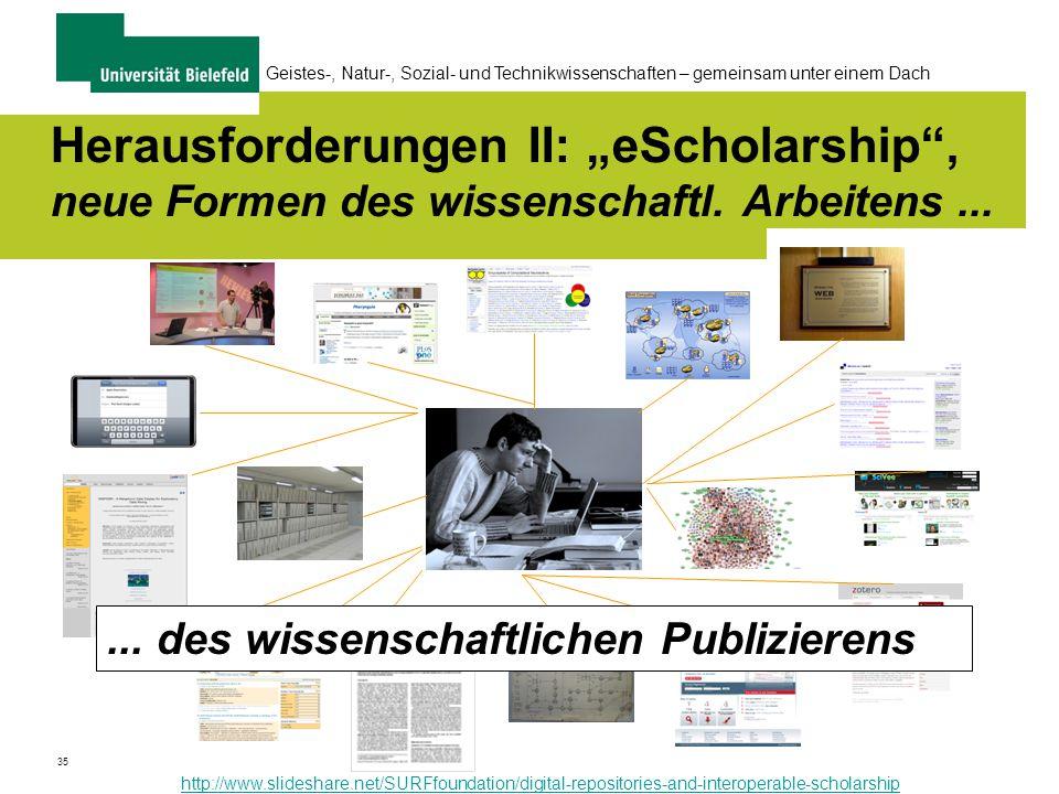"""35 Geistes-, Natur-, Sozial- und Technikwissenschaften – gemeinsam unter einem Dach Herausforderungen II: """"eScholarship , neue Formen des wissenschaftl."""