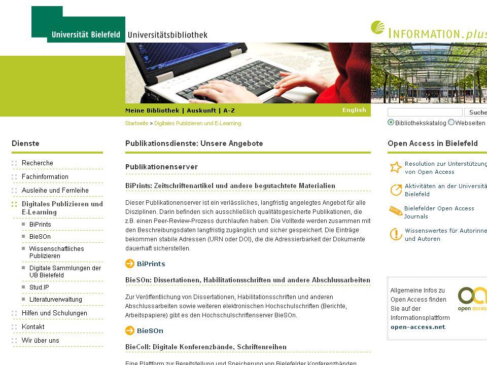 44 Geistes-, Natur-, Sozial- und Technikwissenschaften – gemeinsam unter einem Dach WP-Webseiten der UB