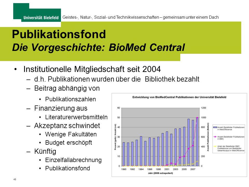 49 Geistes-, Natur-, Sozial- und Technikwissenschaften – gemeinsam unter einem Dach Publikationsfond Die Vorgeschichte: BioMed Central Institutionelle Mitgliedschaft seit 2004 –d.h.