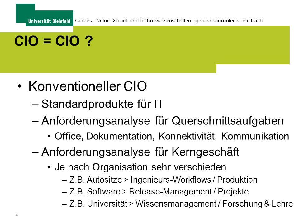 5 Geistes-, Natur-, Sozial- und Technikwissenschaften – gemeinsam unter einem Dach CIO = CIO .