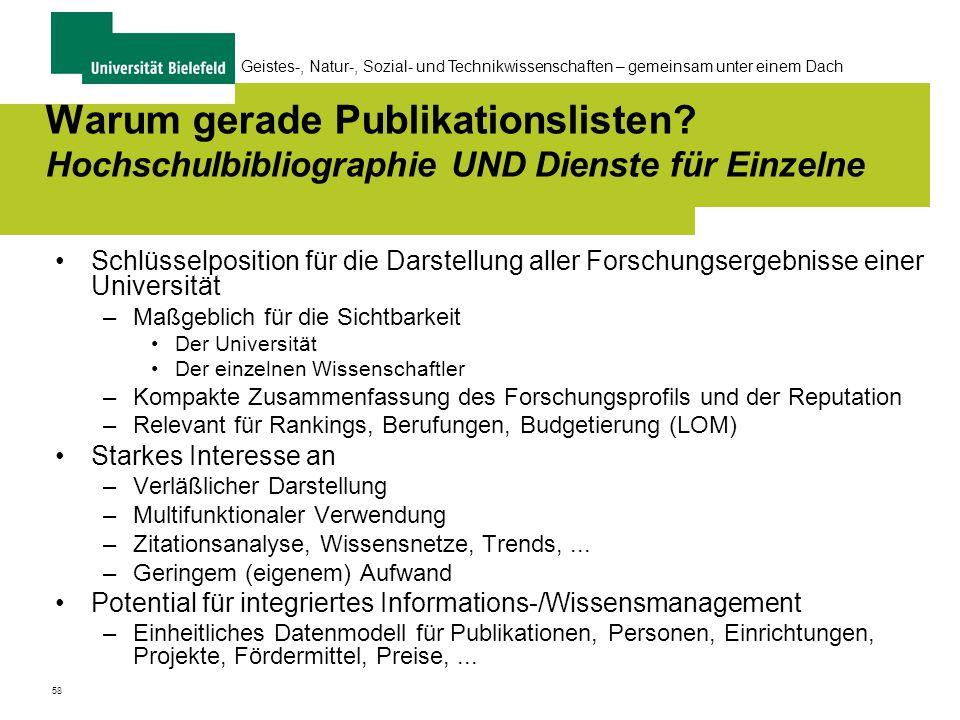58 Geistes-, Natur-, Sozial- und Technikwissenschaften – gemeinsam unter einem Dach Warum gerade Publikationslisten.