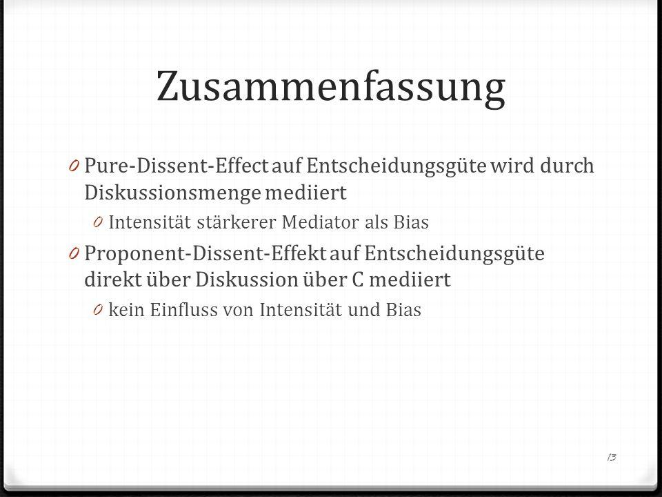 Zusammenfassung 0 Pure-Dissent-Effect auf Entscheidungsgüte wird durch Diskussionsmenge mediiert 0 Intensität stärkerer Mediator als Bias 0 Proponent-