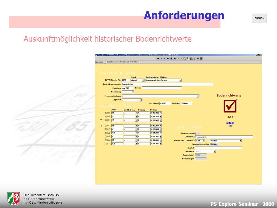PS-Explore-Seminar 2008 Der Gutachterausschuss für Grundstückswerte im Kreis Minden-Lübbecke Auskunftmöglichkeit historischer Bodenrichtwerte Anforderungen zurück