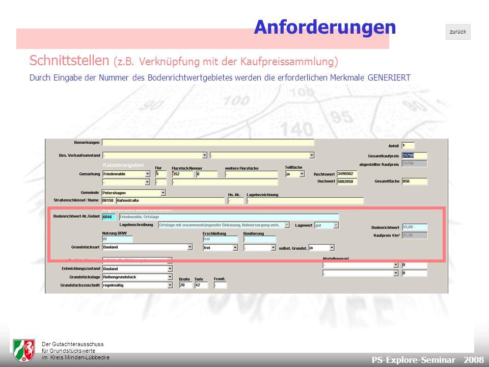 PS-Explore-Seminar 2008 Der Gutachterausschuss für Grundstückswerte im Kreis Minden-Lübbecke Schnittstellen (z.B.