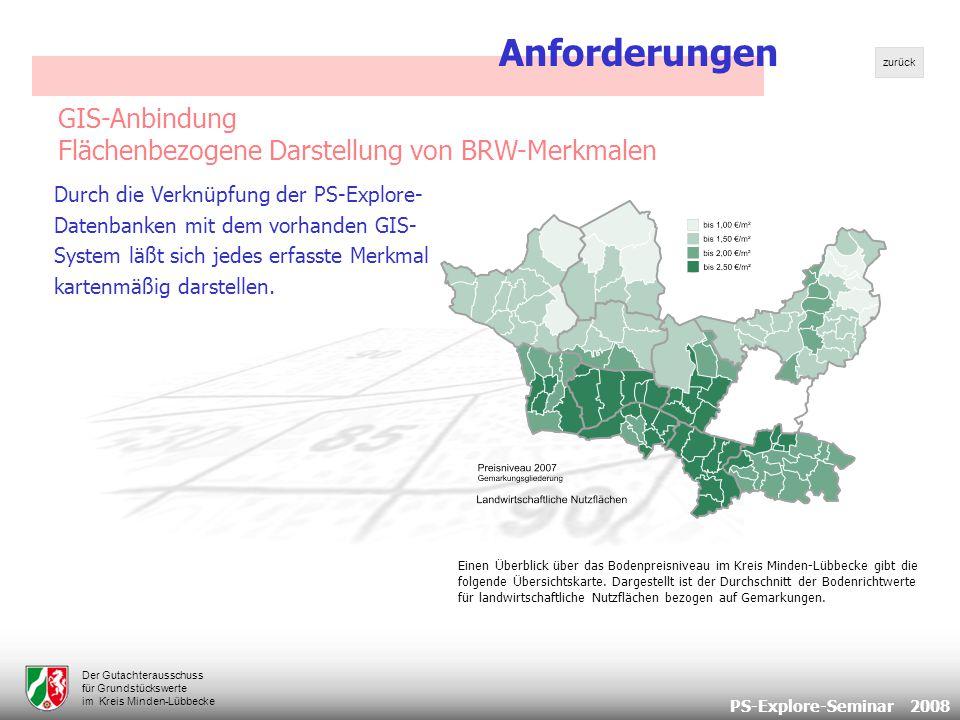PS-Explore-Seminar 2008 Der Gutachterausschuss für Grundstückswerte im Kreis Minden-Lübbecke Einen Überblick über das Bodenpreisniveau im Kreis Minden-Lübbecke gibt die folgende Übersichtskarte.