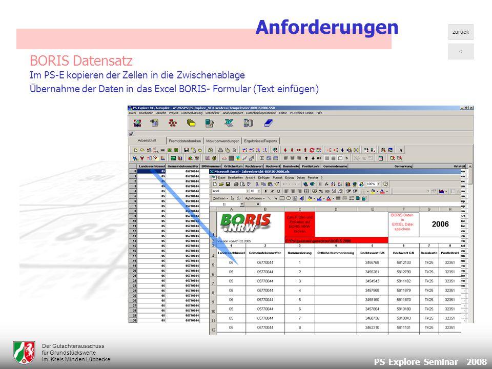 PS-Explore-Seminar 2008 Der Gutachterausschuss für Grundstückswerte im Kreis Minden-Lübbecke BORIS Datensatz Im PS-E kopieren der Zellen in die Zwischenablage Übernahme der Daten in das Excel BORIS- Formular (Text einfügen) Anforderungen < zurück
