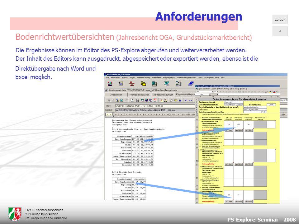 PS-Explore-Seminar 2008 Der Gutachterausschuss für Grundstückswerte im Kreis Minden-Lübbecke Bodenrichtwertübersichten (Jahresbericht OGA, Grundstücksmarktbericht) Die Ergebnisse können im Editor des PS-Explore abgerufen und weiterverarbeitet werden.