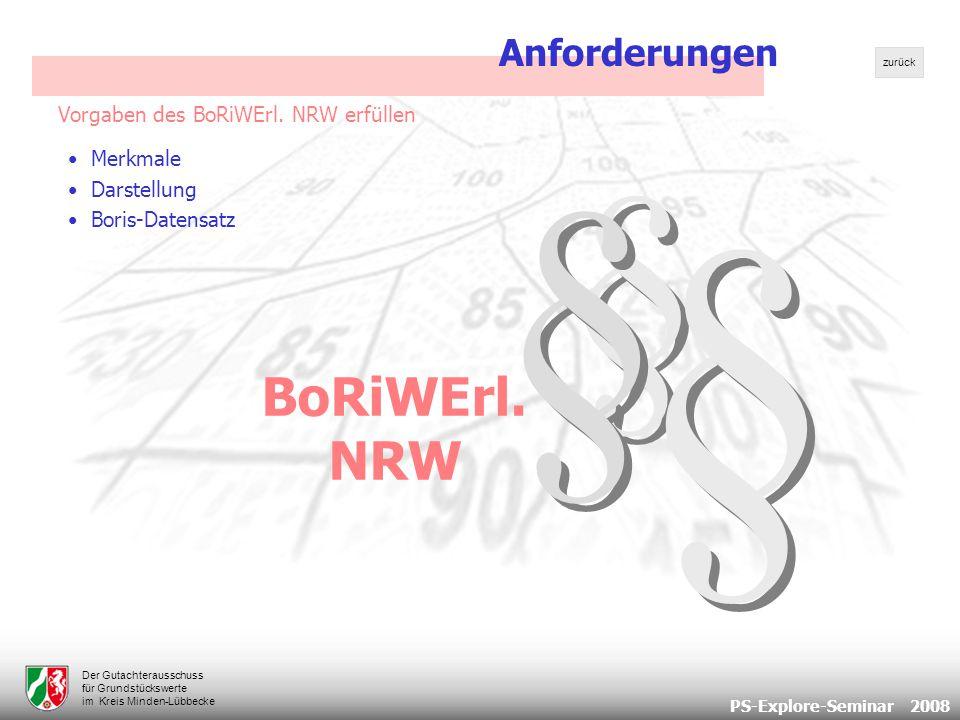 PS-Explore-Seminar 2008 Der Gutachterausschuss für Grundstückswerte im Kreis Minden-Lübbecke Vorgaben des BoRiWErl.