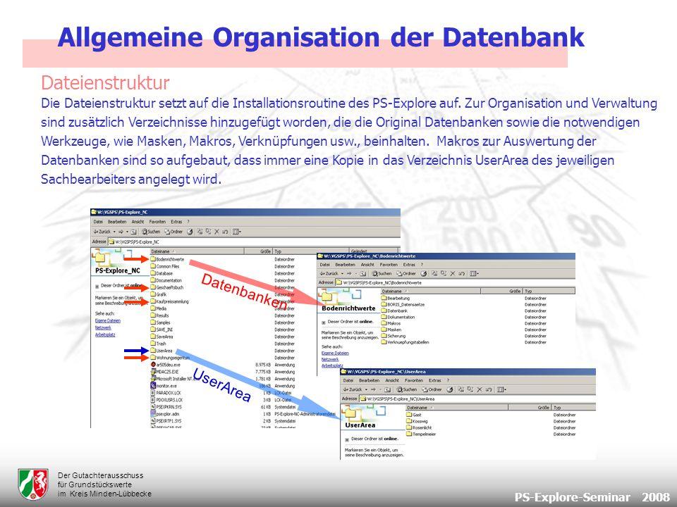 PS-Explore-Seminar 2008 Der Gutachterausschuss für Grundstückswerte im Kreis Minden-Lübbecke Dateienstruktur Allgemeine Organisation der Datenbank Die Dateienstruktur setzt auf die Installationsroutine des PS-Explore auf.