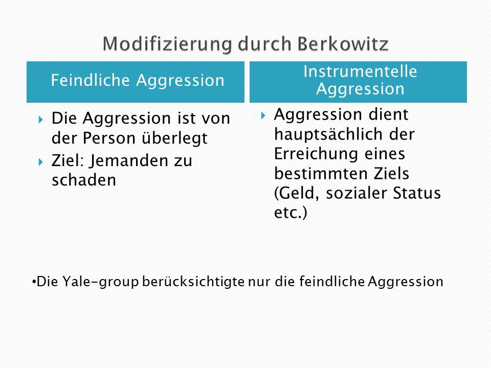 Feindliche Aggression Instrumentelle Aggression  Die Aggression ist von der Person überlegt  Ziel: Jemanden zu schaden  Aggression dient hauptsächl