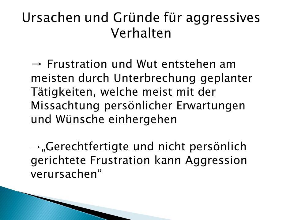 → Frustration und Wut entstehen am meisten durch Unterbrechung geplanter Tätigkeiten, welche meist mit der Missachtung persönlicher Erwartungen und Wü