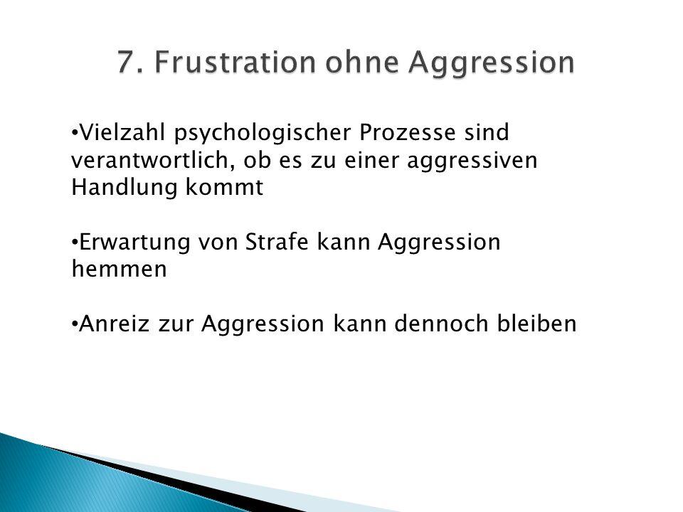 Vielzahl psychologischer Prozesse sind verantwortlich, ob es zu einer aggressiven Handlung kommt Erwartung von Strafe kann Aggression hemmen Anreiz zu