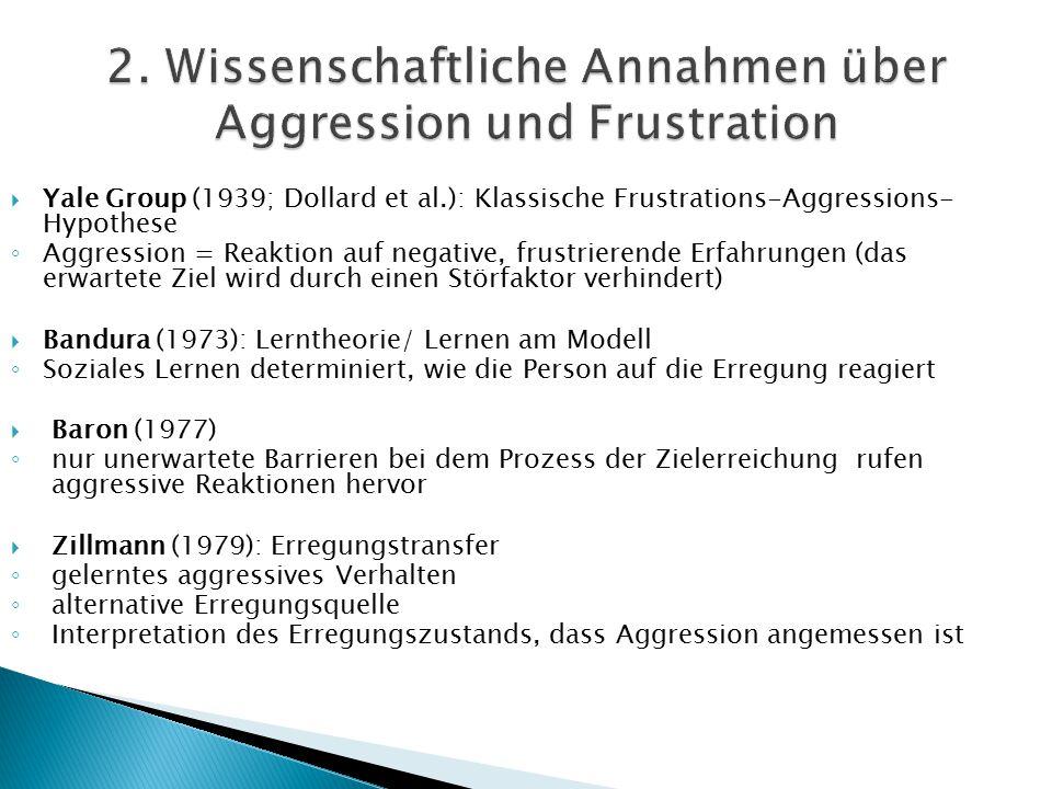 Yale Group (1939; Dollard et al.): Klassische Frustrations-Aggressions- Hypothese ◦ Aggression = Reaktion auf negative, frustrierende Erfahrungen (d